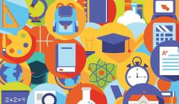 Collage de elementos educativos, Product marketing de una forma diferente